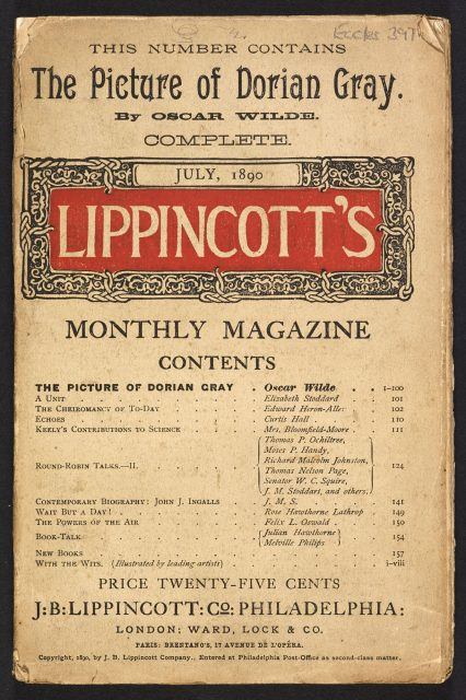 Lippincott's Magazine published The Picture of Dorian Gray, Oscar Wilde's only novel, July 1890 (c) British Library Board